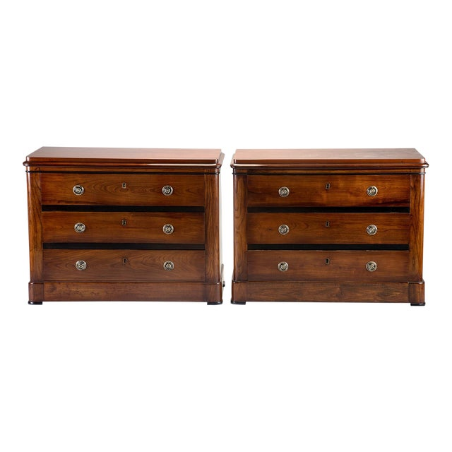 English Mahogany Chests With Black Detailing - a Pair For Sale