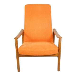 Mid Century Danish Reclining Lounge Chair With Teak Frame For Sale