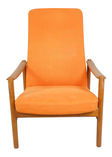 Mid Century Danish Reclining Lounge Chair With Teak Frame
