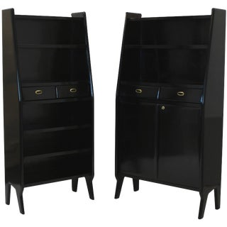 Pair of Large Ebonised Architectural Bookcases
