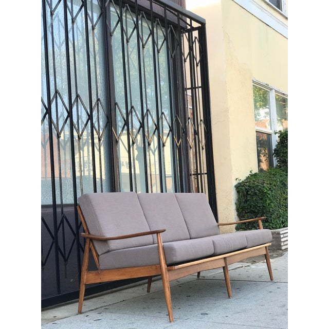 Brown Mid Century 3 Seater Sofa For Sale - Image 8 of 12