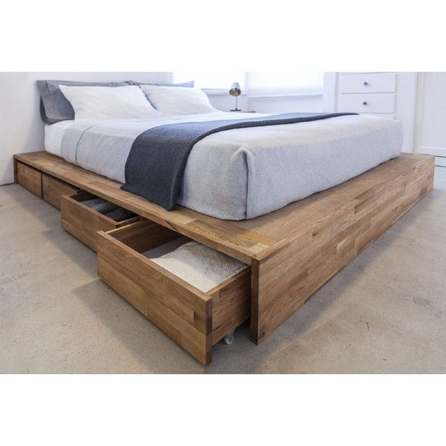 2010s Platform Bed Queen with Storage Drawers and Solid Wood Hung Storage Headboard - 2 Pieces For Sale - Image 5 of 10