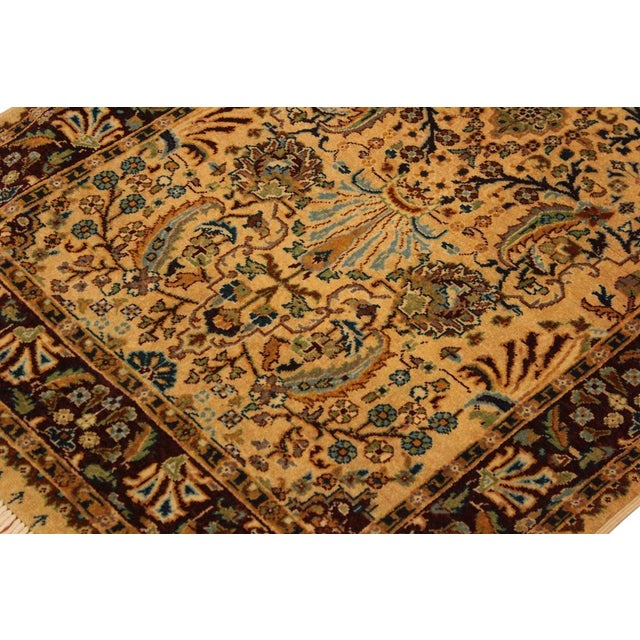 1980s Semi Antique Istanbul Joellen Tan/Red Turkish Hand-Knotted Rug -3'1 X 5'4 For Sale - Image 5 of 8