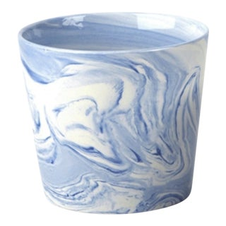 Large Blue Ceramic Swirl Terre Melee Cachepot For Sale