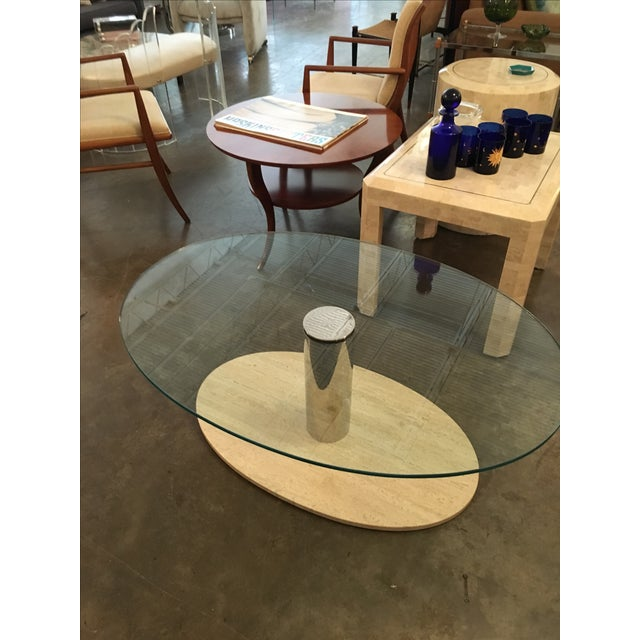Mario Bellini for Cassina Travertine and Chrome Coffee Table with Glass - Image 3 of 9