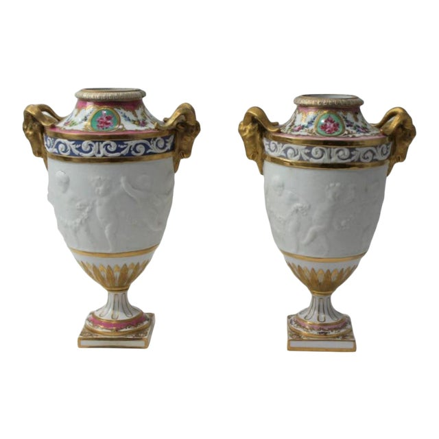 Antique 19th Century Sevres Style Urns - a Pair For Sale
