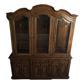 Vintage Thomasville Dark Wood China Cabinet For Sale