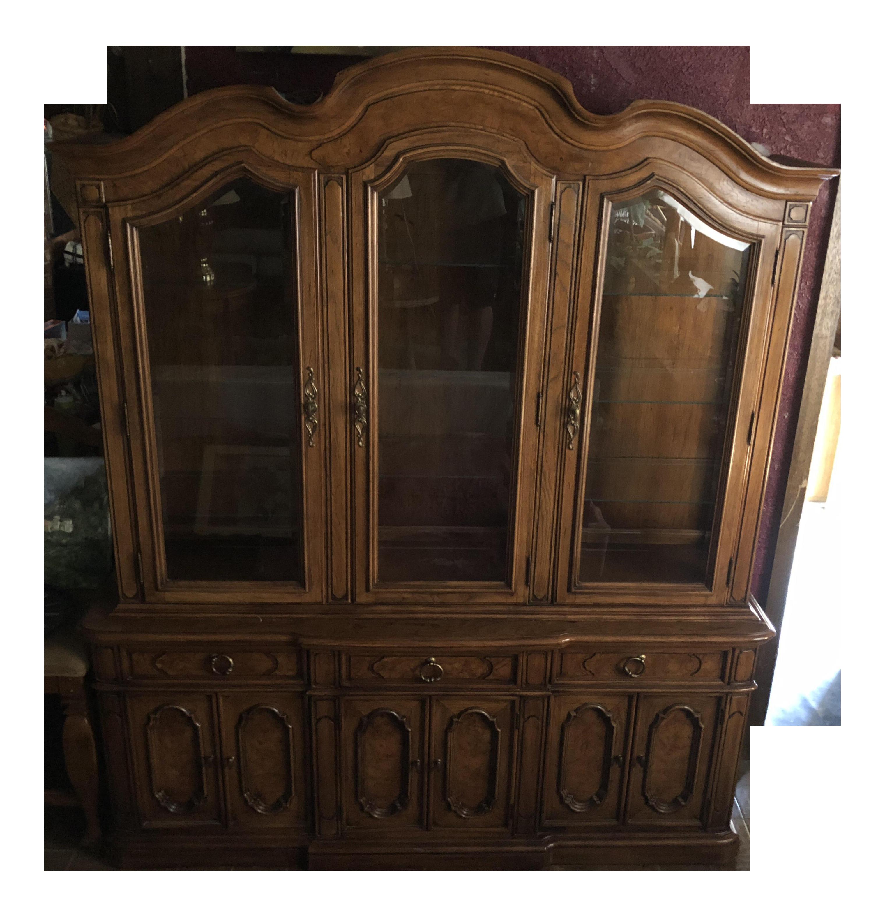 Vintage Thomasville Dark Wood China Cabinet