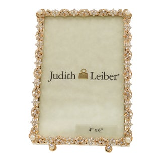 Judith Leiber Designer Crystal and Pearl Gold Tone Rectangular Photo Frame
