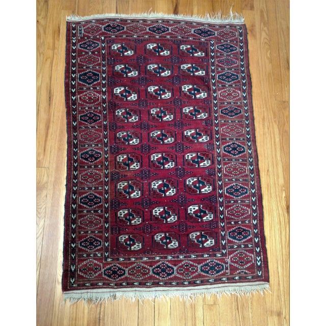 Blue Antique North Indian Wool Area Rug - 3′6″ × 5′4″ For Sale - Image 8 of 8