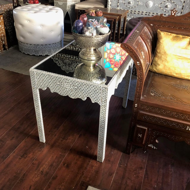 1990s 1990s Moorish Mother of Pearl Inlay Side Table For Sale - Image 5 of 11