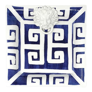 Greek Key Small Square with Lion in Navy For Sale