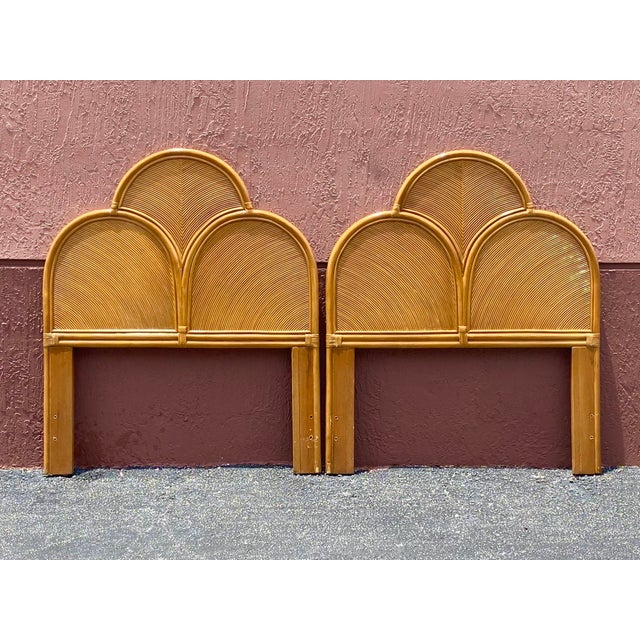 Vintage Pencil Reed Headboards - a Pair For Sale - Image 9 of 13