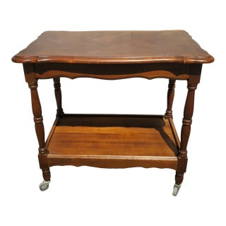 Vintage French Cherry Wood Trolley For Sale