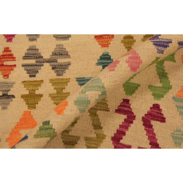 2010s Eulah Ivory/Blue Hand-Woven Kilim Wool Rug -8'6 X 11'5 For Sale - Image 5 of 8