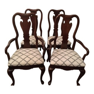 1998 Transitional Thomasville Cherry Wood Dining and Arm Chairs - Set of 4