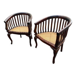 Mid-Century Dark Wood Cane Barrel Back Side Chairs - a Pair For Sale