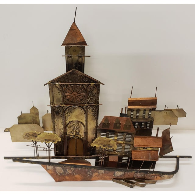 Up for sale is a 1972 Curtis Jere Mid Century Modern Brutalist Village Welded Metal Wall-Hanging Sculpture! It measures 19...