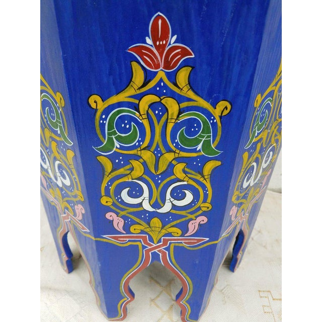 This is a 100% hand painted and lightly carved Moroccan hexagonal shape side table or end table. Great handcraftsmanship...