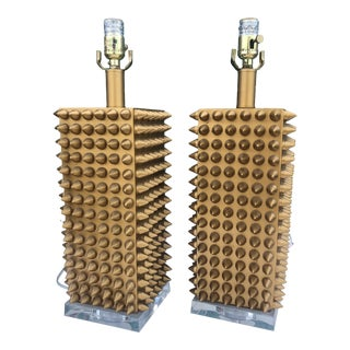 Contemporary Gold Spike Lamps - a Pair For Sale