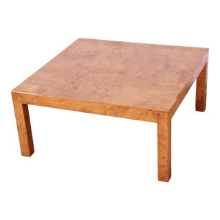 Mid-Century Burl Wood Parsons Coffee Table For Sale