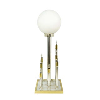 1950s Tall Mid Century Modern Globe Brass and Chrome 9 Light Sculptural Table Lamp For Sale