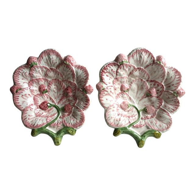 Vintage Strawberry Faience Dishes-Neuwirth - a Pair For Sale