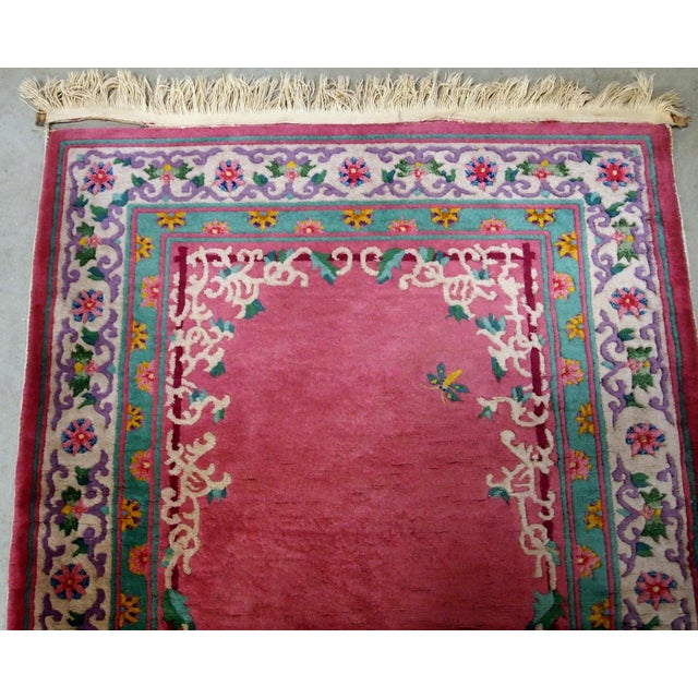 1930s Handmade Antique Art Deco Chinese Rug 2.10' X 5.10' For Sale - Image 4 of 9