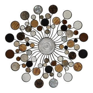 Expression Round Wall Sculpture With Natural Inlay For Sale