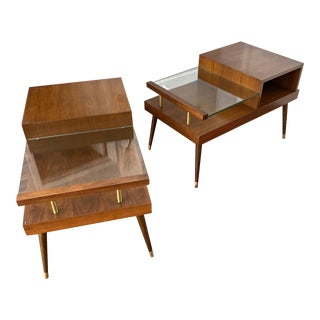 Mid Century Modern James-Philip Co. Floating Glass End Tables - a Pair For Sale