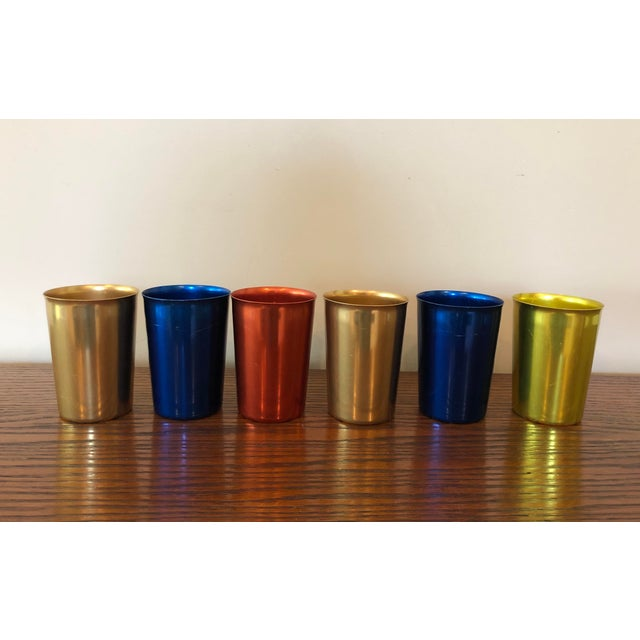 Mid 20th Century Final Price! Blue Red Gold and Yellow Mid-Century Aluminum Tumblers - Set of 6 For Sale - Image 5 of 5