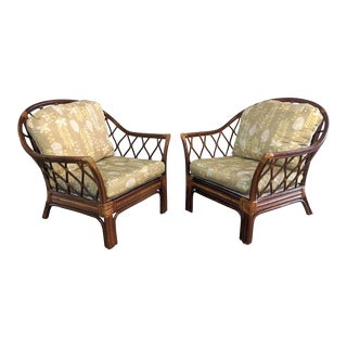 Vintage Rattan Arm Chairs by Vanguard Furniture - a Pair For Sale