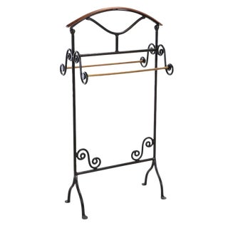 20th Century Iron, Brass, and Wood Freestanding Towel Rack For Sale