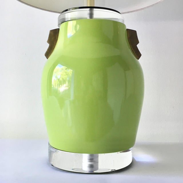 A Single Lime Green Glazed Ceramic Table Lamp with Patinated Brass and Lucite Details 1980s