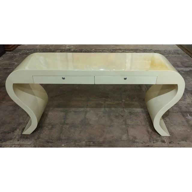 Mid-Century Modern Lacquered Goat Skin Console Table For Sale - Image 3 of 8
