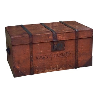 Xaver Musler, German-American Iron-Bound Trunk, 19th Century For Sale