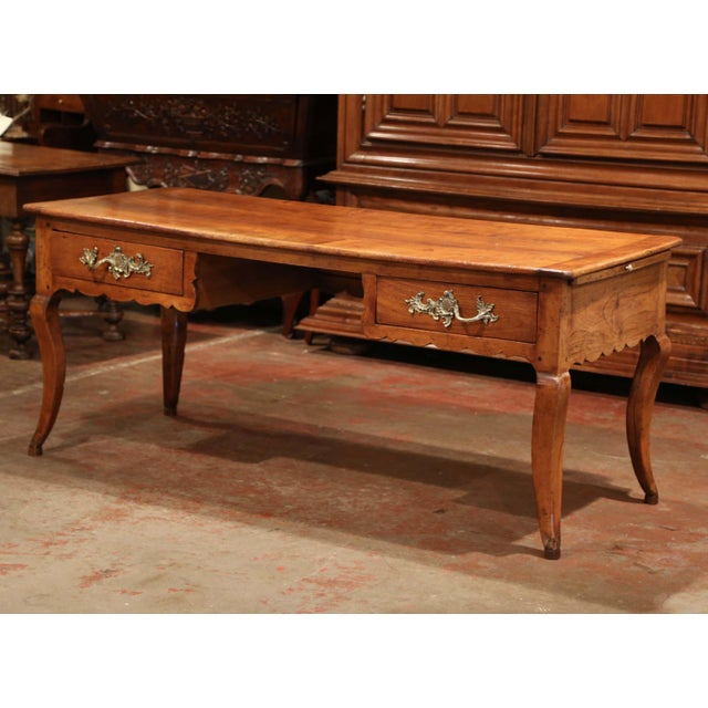 18th Century French Louis XV Carved Cherry Desk With Drawers and Pullout Trays For Sale - Image 13 of 13