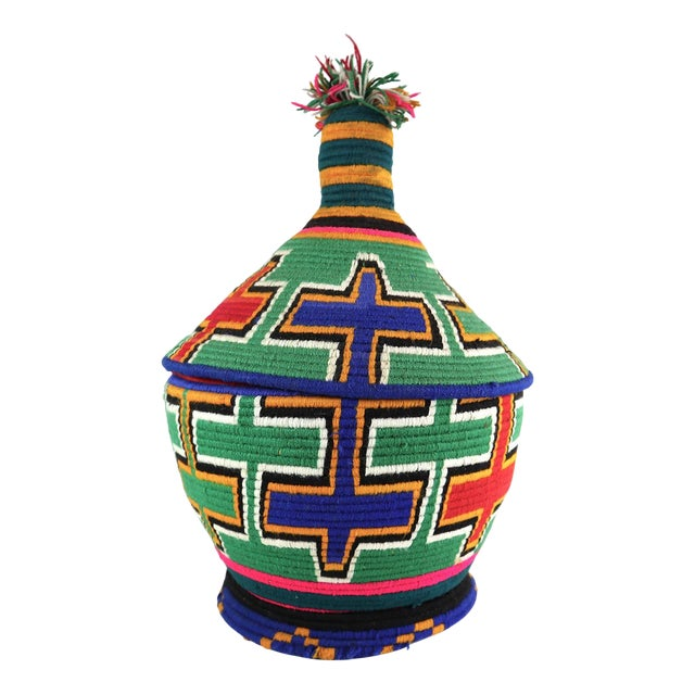 1990s Moroccan Berber Lidded Basket For Sale