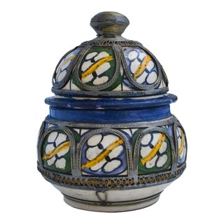 Moroccan Ceramic Lidded Jar For Sale
