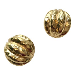 1980s Ciner Hammered Gold Earrings - a Pair For Sale