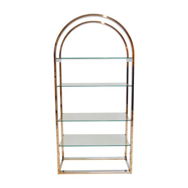 Milo Baughman-Style Arched Chrome & Glass Etagere - Image 1 of 7