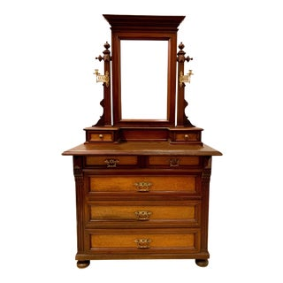 Early 20th C. Victorian Eastlake Dresser With Mirror For Sale