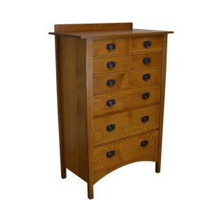 Stickley Mission Collection Oak Nine Drawer Harvey Ellis Tall Chest For Sale