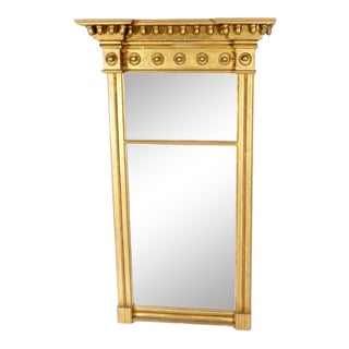Large Federal Carved Gilt Wood Mirror For Sale