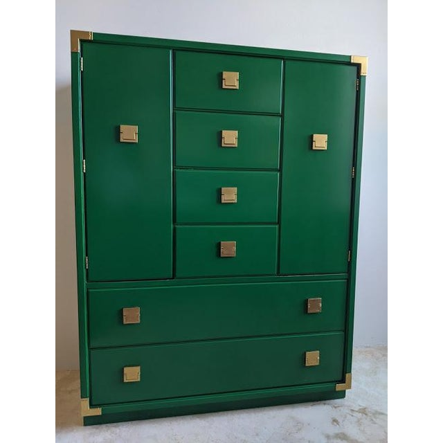1970s Thomasville Campaign Gloss Green Highboy Dresser For Sale - Image 10 of 10