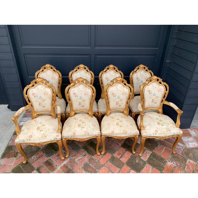 These antique French gold-leaf painted chairs, Victorian era circa 1850s, contain their original springs and are made from...