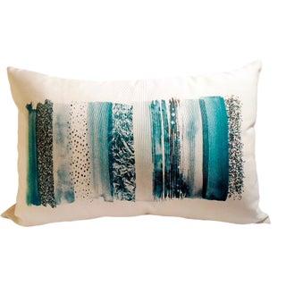 Teal Colorway Lumbar Linen Pillow For Sale