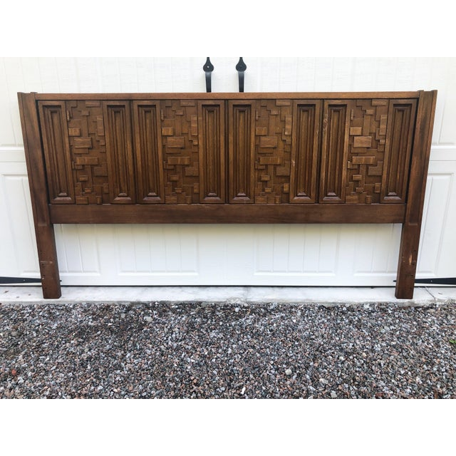 Brown 1970s Brutalist King Sized Headboard For Sale - Image 8 of 8