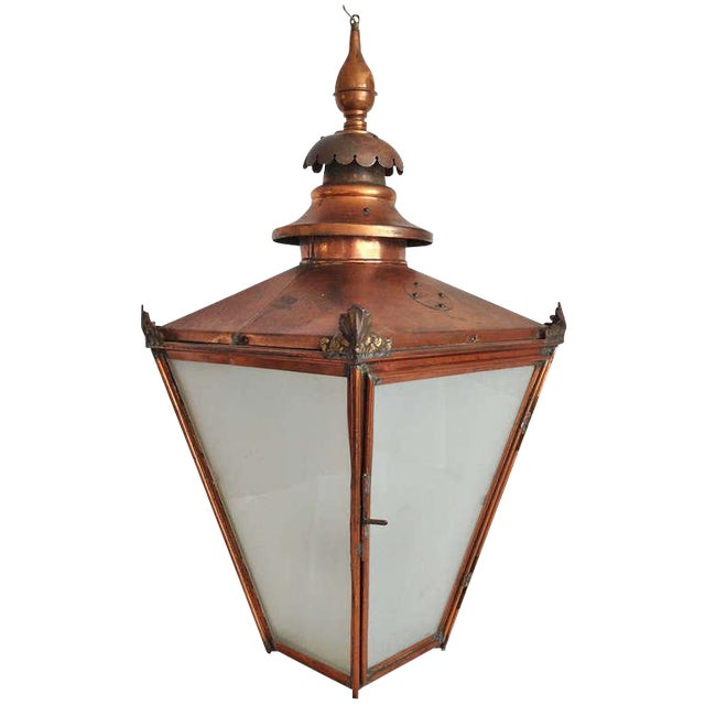 Grand Late 19th C. English Copper Hanging Lantern - Image 1 of 5