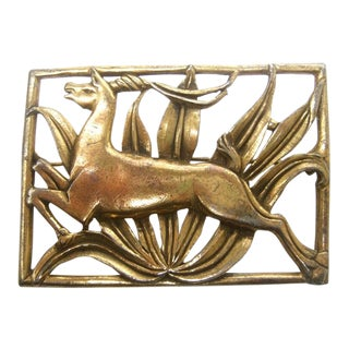 Art Deco Leaping Gazelle Gilt Brooch C 1940s For Sale